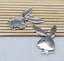 4pcs 33x21mm Antique Silver bronze Lovely  Playboy rabbit head Charms Pendant