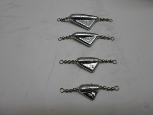 INLINE TROLLING KEEL SINKERS  WITH BEAD BALL CHAIN  4 SIZES   12 TOTAL