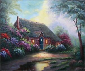 Quality-Hand-Painted-Oil-Painting-Moonlight-Cottage-20x24in