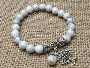 Howlith-Edelstein-Armband-Perlen-elastisch-Stretch-Baum-des-Lebens-8-mm