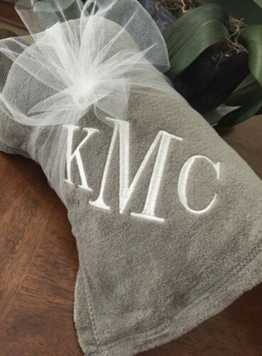 Monogramned Blanket Personalized Throw 50x60 Embroidered Three Initial Monogram