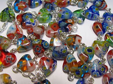 † HTF GORGEOUS MILLEFIORI VINTAGE STERLING & HEART SHAPE GLASS ROSARY NECKLACE †