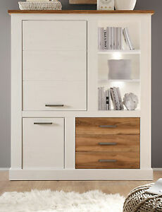 highboard vitrinenschrank pinie weiss nussbaum kommode. Black Bedroom Furniture Sets. Home Design Ideas
