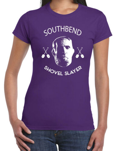 390 South Bend Shovel Slayer womens T-shirt funny christmas holiday movie retro