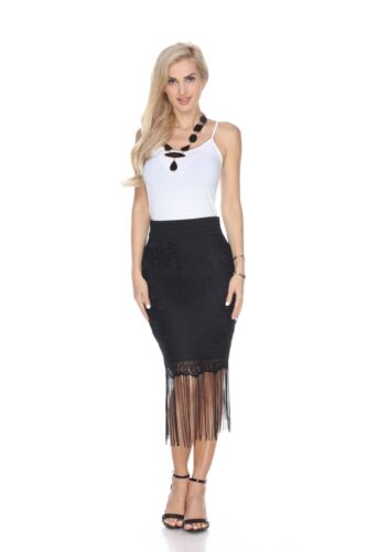 White Mark Classic Solid Color Vega Fringe Stylish Skirt For Women
