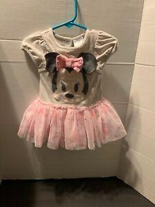 DISNEY-BABY-6-9-Months-Pink-Tutu-Girl-Minnie-Mouse-Dress-Snap-Button-Cute-Dance
