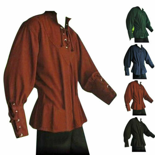 Men Tops Shirt Summer Solid Medieval Clothing Party Tops Loose Costume