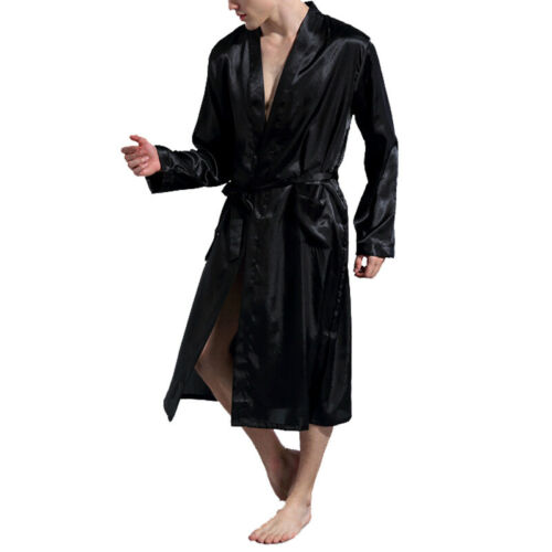 Men/'s Satin Silk Robes Pajamas Bathrobe Smooth Long Sleeve Nightgown Sleepwear