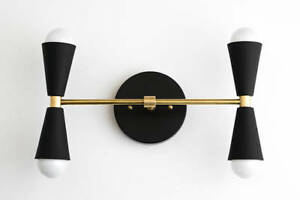 buy popular 4bee7 cffd8 Details about Brass Black Wall Fixture - Vanity Light - Bathroom Lamps -  Modern Cone Light