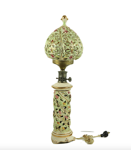 Vintage Paul Hanson Porcelain Ceramic Hand Painted Asian Table Lamp Light Globe