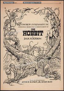 "THE HOBBIT__Original ""1972"" early Trade print AD / poster__Rankin / Bass_advance"