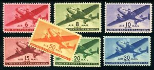 USAstamps-Unused-VF-XF-US-Airmail-Complete-Planes-Set-Scott-C25-C31-OG-Mint
