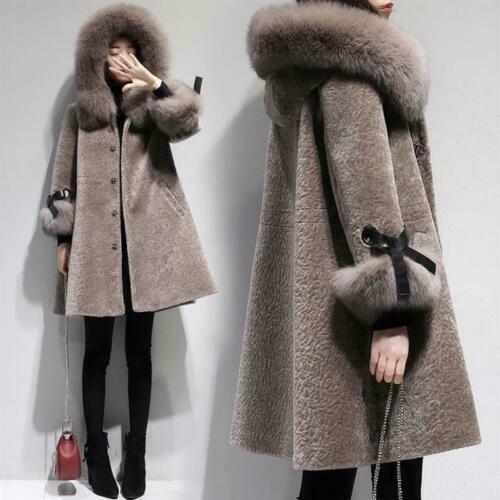 Women Faux Shearling Lamb Fur Coat Fox Fur Hooded Winter Jacket Warm Outwear New