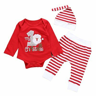 3Pcs Christmas Outfits Baby Boys Girls Letters Print Romper+Striped Pant+Cap