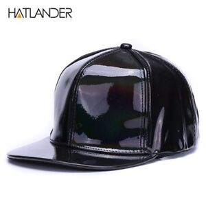 Shining PU flat brim baseball hats for boys girls solid snapbacks  3aa0aa5ebac0