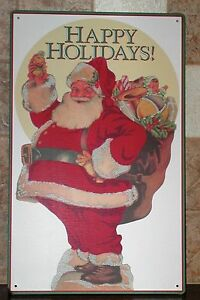 SANTA-CLAUS-Happy-Holidays-Santa-Bag-of-Toys-Christmas-Metal-Wall-Sign-16-034-x-10-034
