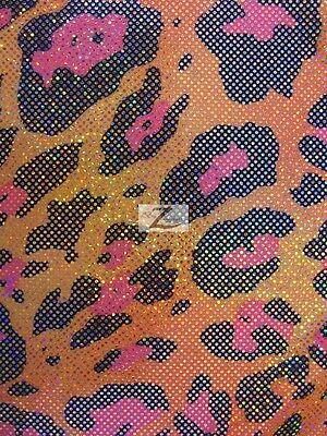 "SPARKLE LEOPARD NYLON SPANDEX FABRIC - Neon Orange - 58""/60"" WIDTH SOLD BTY"