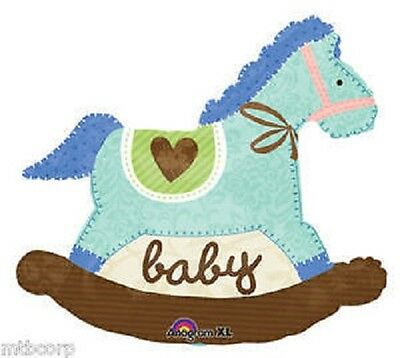 Quilted ROCKING HORSE Blue Green Brown BABY SHOWER Decoration Party Balloon