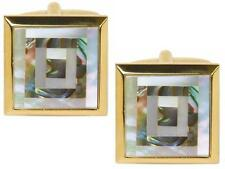 Mother of Pearl & Paua Shell Square Gold Plated Cufflinks in Presentation Box