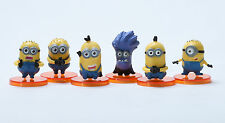 "Despicable Me 2 The Minions Role Figure Display Toy PVC 6Pcs Set 4cm 1.6"" New"