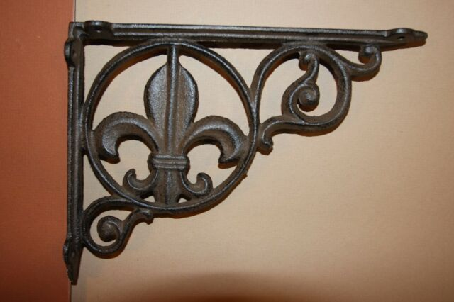 "4 BROWN ANTIQUE-STYLE 9/"" SHELF BRACKETS CAST IRON garden wall VINE FLEUR DE LIS"