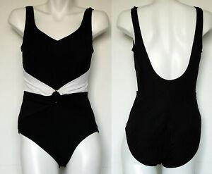 9072124e9e2 Image is loading Longitude-Slimming-Black-One-Piece-Swimsuit-with-Center-
