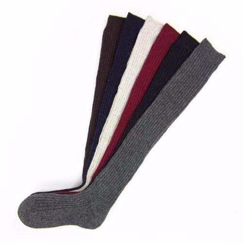 Women Girl Winter Leg Warmer Cable Knitted Crochet Knee High Long Socks Stocking
