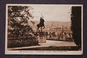 Tarjeta-Postal-Antigua-Blois-Vista-General-La-Loire-Estatua-De-Juana-D-039