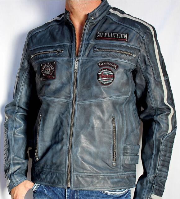Affliction Black Premium - VELOCITY - Men's Leather Biker Jacket  - NEW - Blue