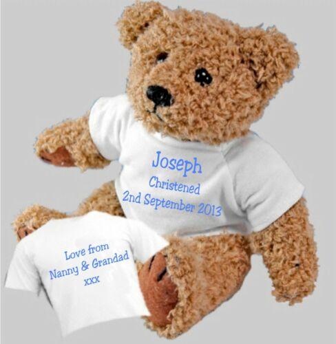 Personalised Teddy Bear Christening Baptism Naming Ceremony Gift Bag Option
