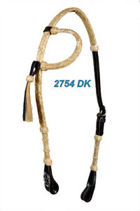 Western-Dark-Oil-Rawhide-Weaved-One-Ear-Headstall-with-Star-Conchos-And-Tassel