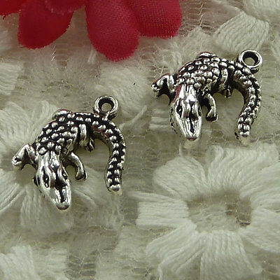 free ship 60 pieces Antique silver lizard charms 15x14mm #2577