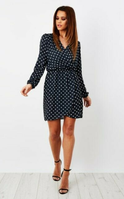 Topshop Love Navy Polka Dot Long Sleeve Wrap Dress UK 10 12 EURO 38 40 US 6 8