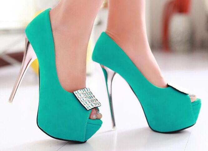 Décollte chaussures Éscarpins Sandales femmes Talon Aiguille Plateau 14 cm bleu