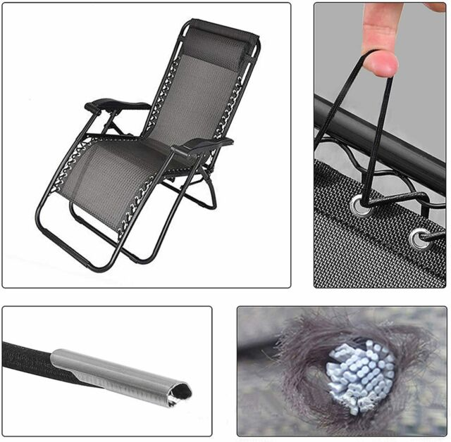 4 Pcs Universal Replacement Cords Laces Ropes Repair Kit for Zero Gravity Chair Recliners Lounge Chairs Gray