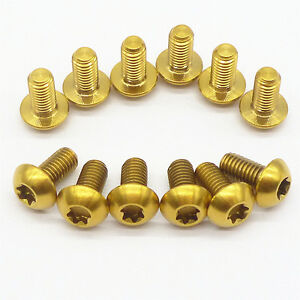 12pcs Gold M5x10mm Titanium Alloy Disc Brake Rotor Bolt Water Bottle Cage Screw