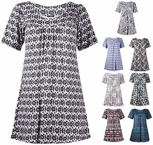 Womens-Plus-Size-Short-Sleeve-Gathered-Long-Floral-Aztec-Print-Smock-Ladies-Top