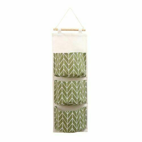3 Pockets Wall Door Closet Home Hanging Storage Bag Linen Organizer Pouch Decor