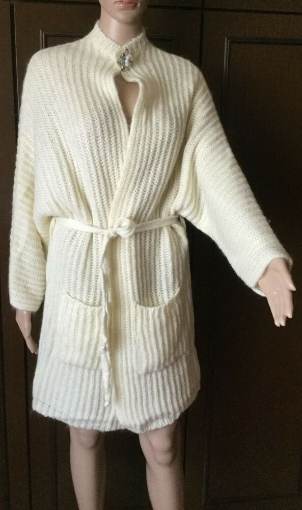 Mohair Knit Cardigan Eleonora Amadei Woman, Cream Color, One Size Cardigan Donna