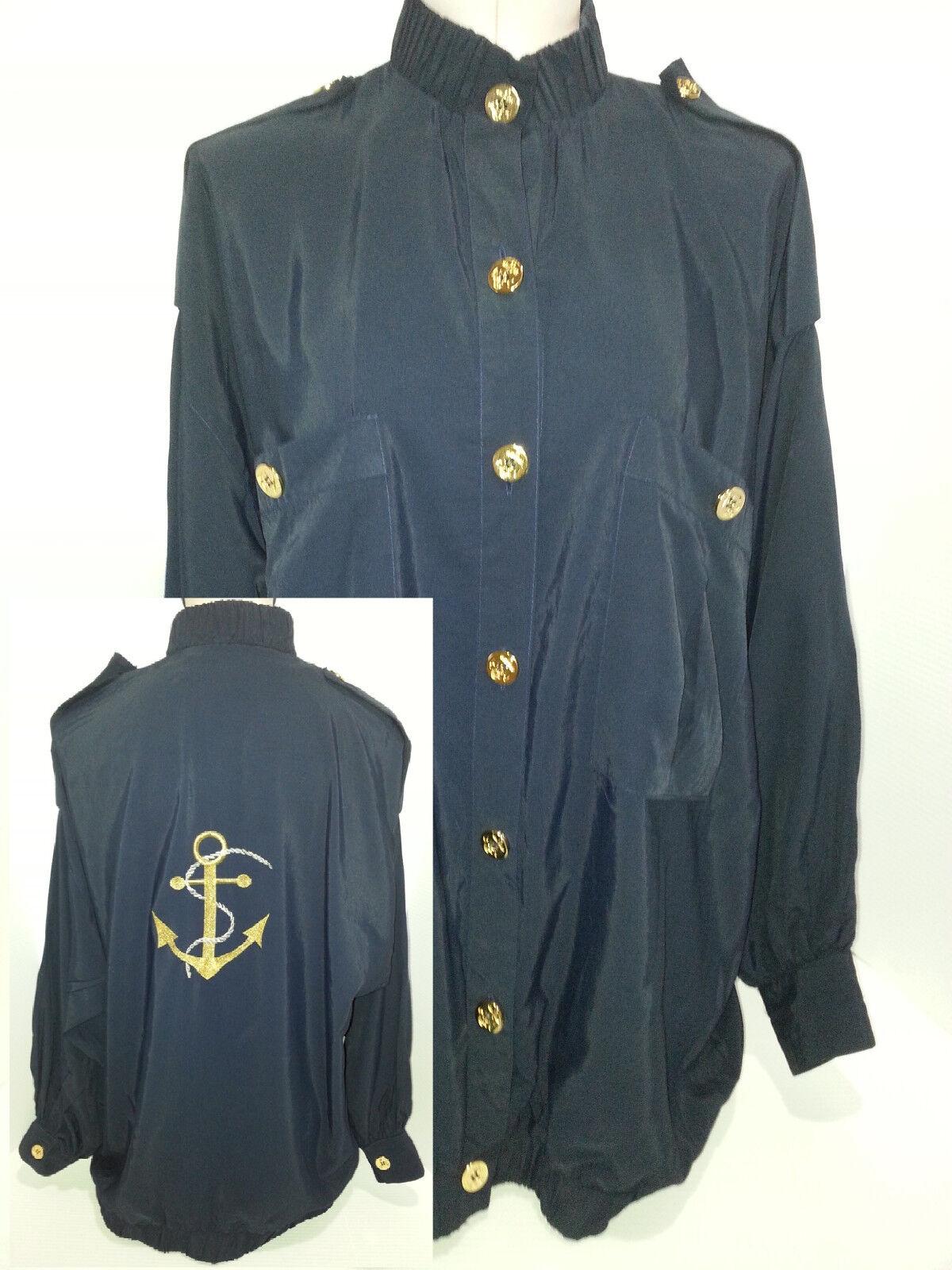 GIDEON OBERSON damen Sailor Nautical Embroiderot Blouse Jacket Blau Sz L Large