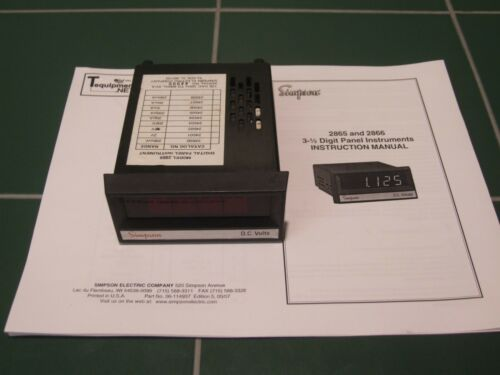 Volts Panel Meter Simpson #2865 3-1//2 Digit Digital D.C