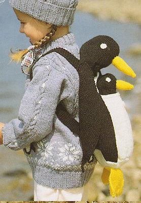 Penguin Backpack & Toy  DK Knitting Pattern