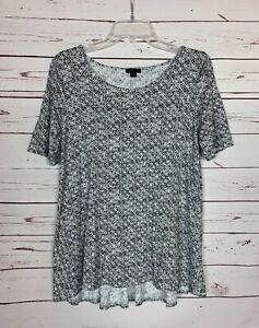 J.Jill Wearever Women's S Small White Black Spring Short Sleeve Top Shirt Blouse