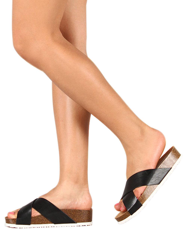 New Women Breckelles Fannie-02 Cross Leatherette Open Toe Criss Cross Fannie-02 Slip On Sandal 5edb23