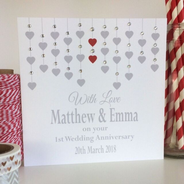 Handmade Personalised Wedding Anniversary Card 1st First 2nd 3rd Son Daughter