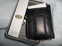 Fossil Men's Ingram Magnetic Money Clip Front Pocket Black Leather Wallet