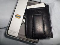 Fossil Men's Ingram Magnetic Money Clip Front Pocket Black Leather Wallet