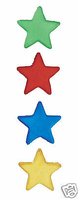 12 EDIBLE SUGAR STAR CAKE DECORATIONS - BLUE RED GREEN YELLOW