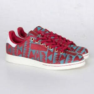 low priced 47b4b 395ef Image is loading Adidas-Originals-Stan-Smith-Casual-Walking-Shoes-Red-
