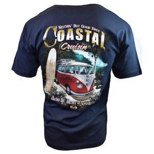 Mens-Volkswagen-VW-Bus-Surfing-Beach-Cruisin-Graphic-Print-T-Shirt-Navy-Blue